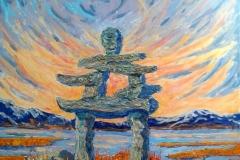 Aidan Haley, The Minder. Acrylic on canvas.