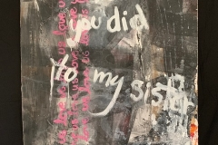 Rhonda Nolan, Love Us (2020). Mixed media on unstretched canvas.